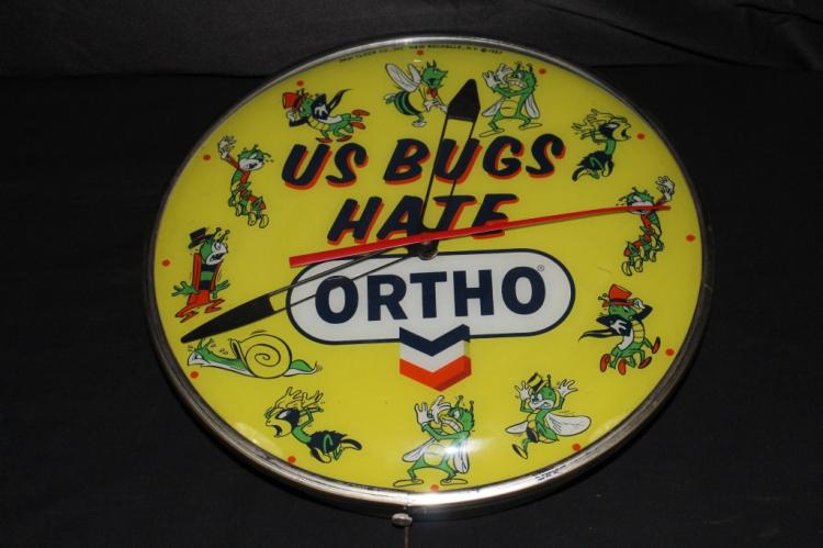 RARE PAM 1957 US BUGS HATE ORTHO CLOCK SIGN