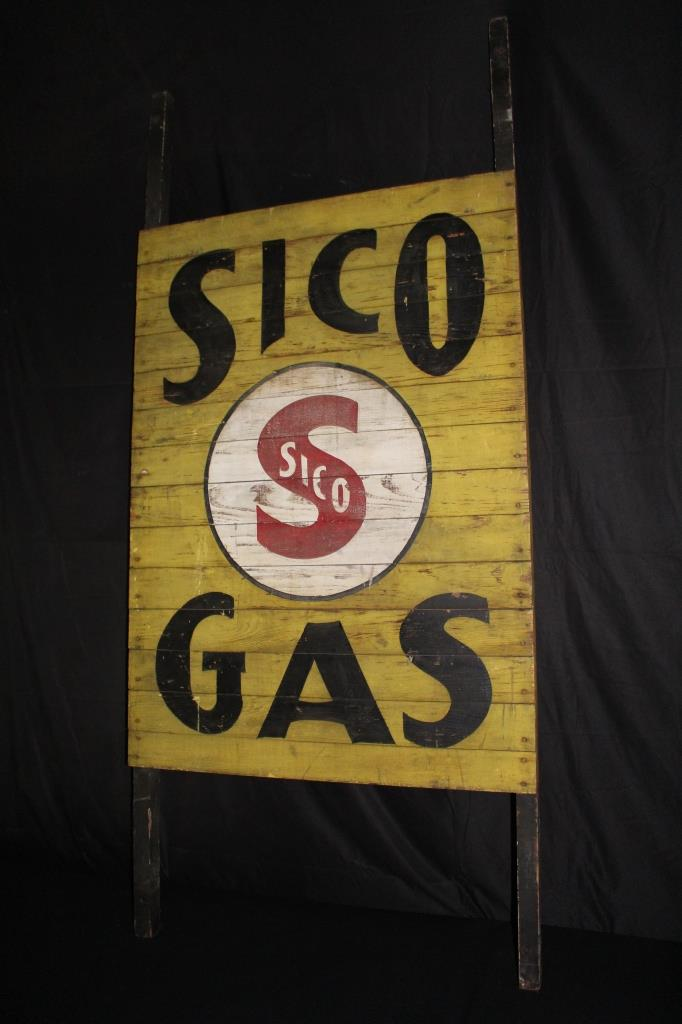 SCHOCK INDEPENDENT OIL CO SICO GASOLINE WOOD SIGN