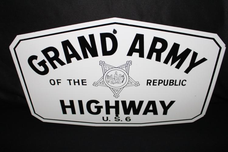 PORCELAIN GAR GRAND ARMY OF THE REPUBLIC HWY SIGN