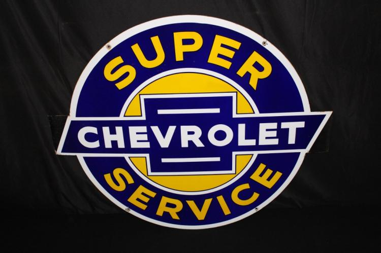 OUTSTANDING PORCELAIN CHEVROLET SUPER SERVICE SIGN