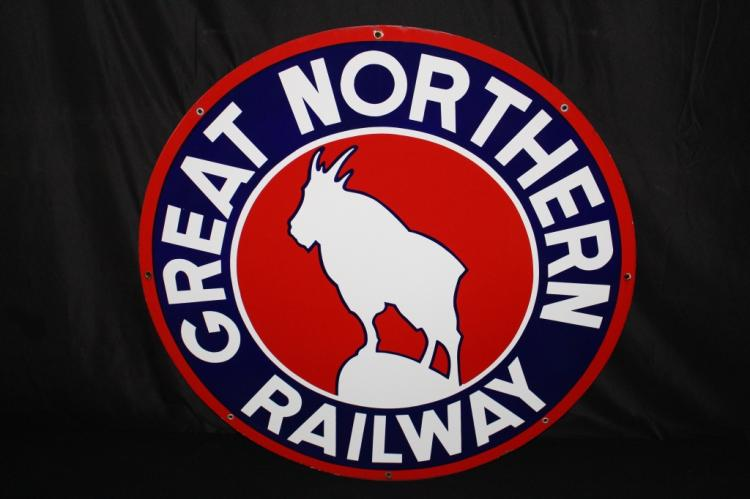 "RARE 42"" GREAT NORTHERN RAILROAD PORCELAIN SIGN"