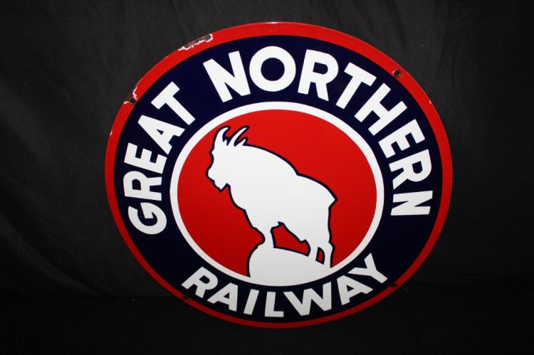 "RARE 30"" GREAT NORTHERN RAILROAD PORCELAIN SIGN"