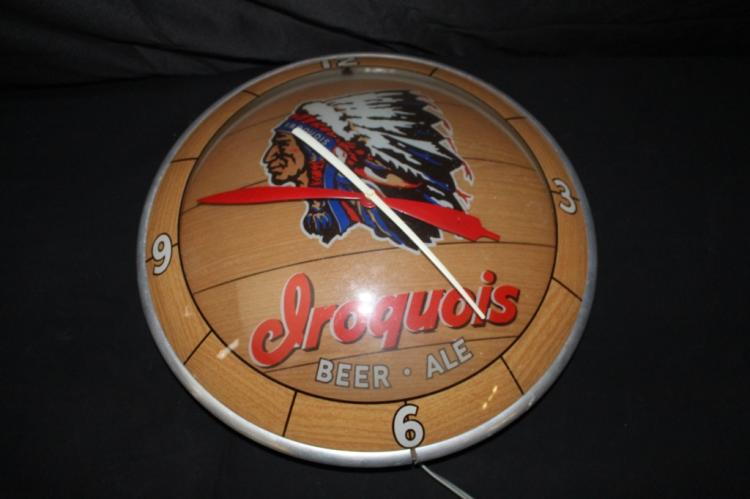 IROQUIOS BEER & ALE DOUBLE BUBBLE CLOCK SIGN