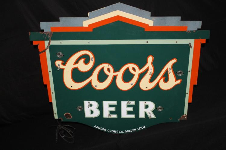 PORCELAIN COORS BEER NEON SIGN COLORADO