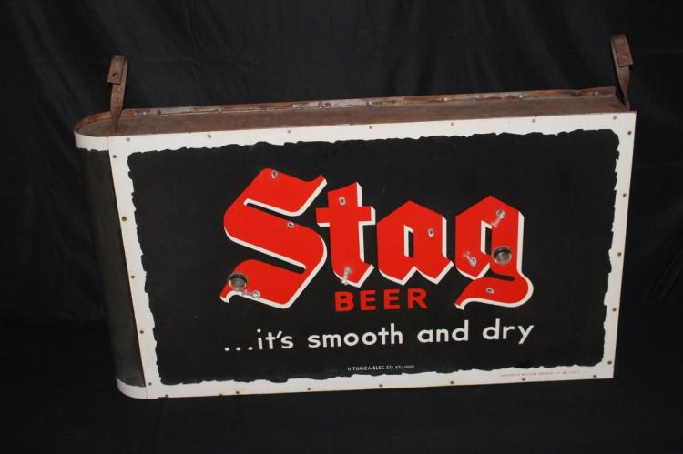 PORCELAIN SMOOTH & DRY STAG BEER NEON SIGN