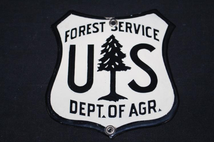 RARE PORCELAIN US FOREST SERVICE SIGN GOVERNMENT