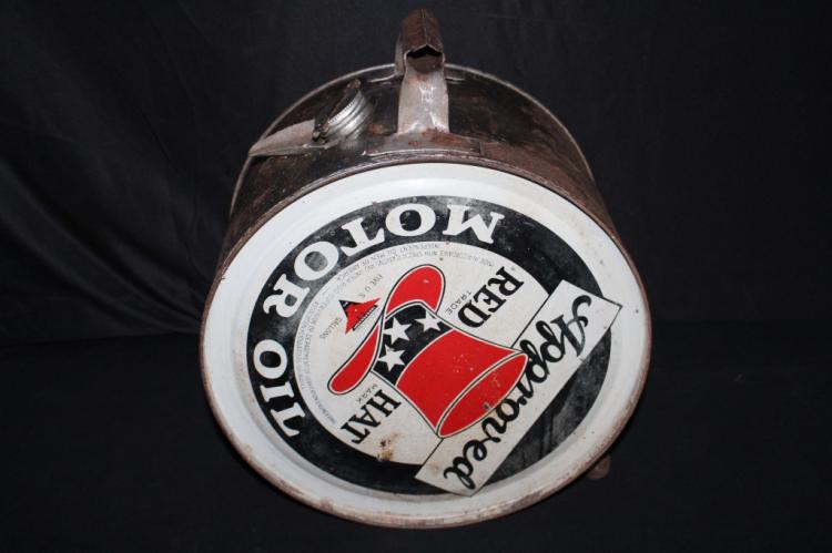 RARE UPSIDE DOWN RED HAT MOTOR OIL ROCKER CAN