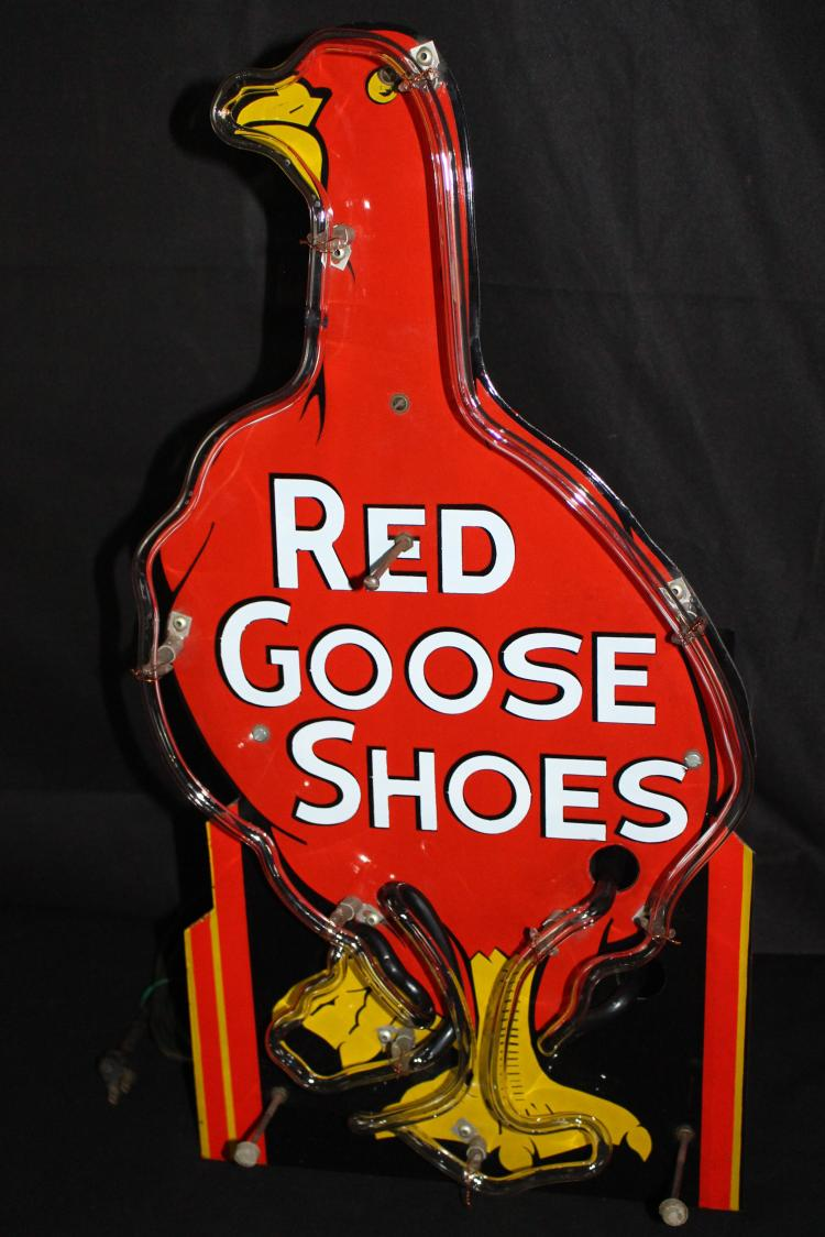 RARE PORCELAIN RED GOOSE SHOES NEON SIGN