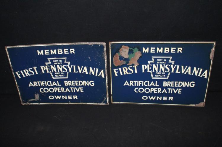 2 First Pennsylvania Breeding Coop Tin Farm Signs