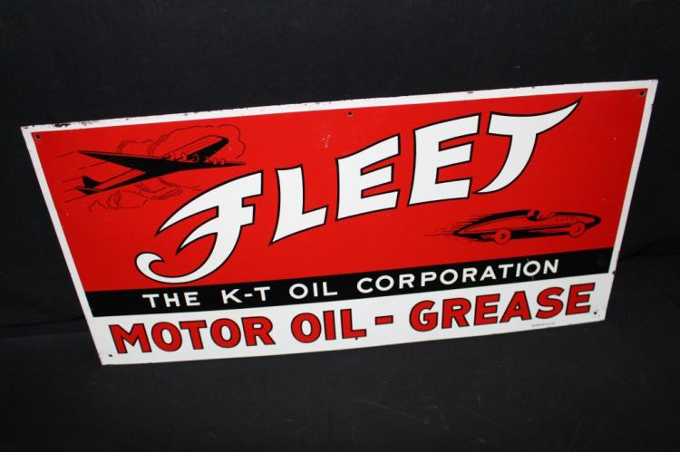 KT Oil Corp Fleet Motor Oil Sign Airplane Race Car