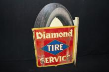 Early Diamond Tire Service Flange Sign