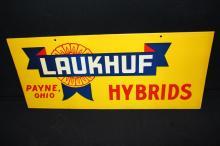 Laukhuf Hybrid Seed Corn Tin Farm Sign Payne OH