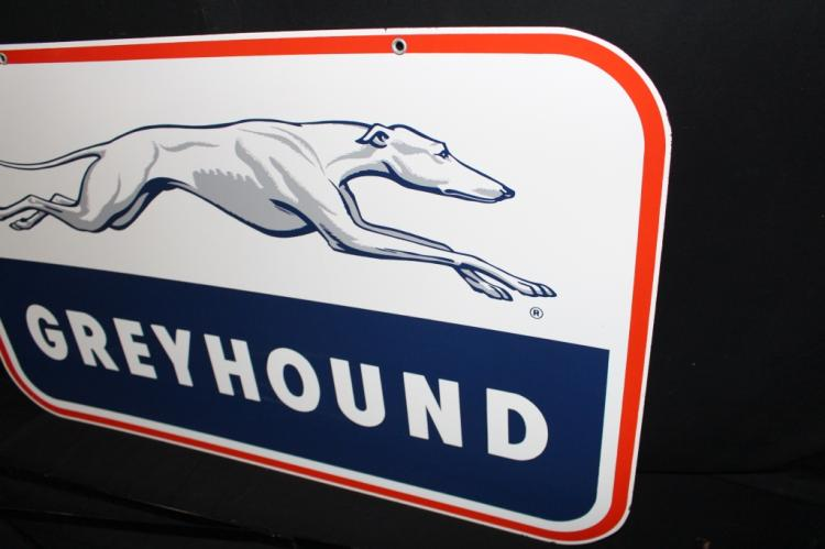 Rare NOS Porcelain Greyhound Bus Depot Sign