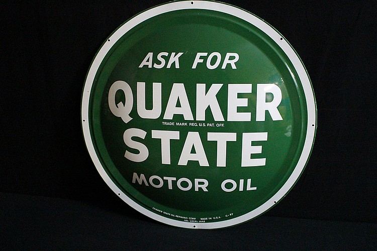 Ask For Quaker State Motor Oil Convex Tin Sign