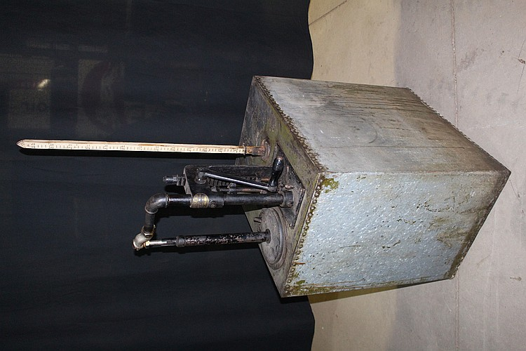 Early All Original Bowser Self Measuring Oil Tank Riveted Steel