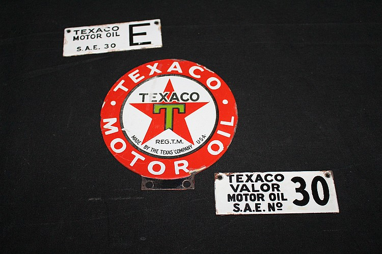 3 Porcelain Texaco Motor Oil Signs All Double Sided