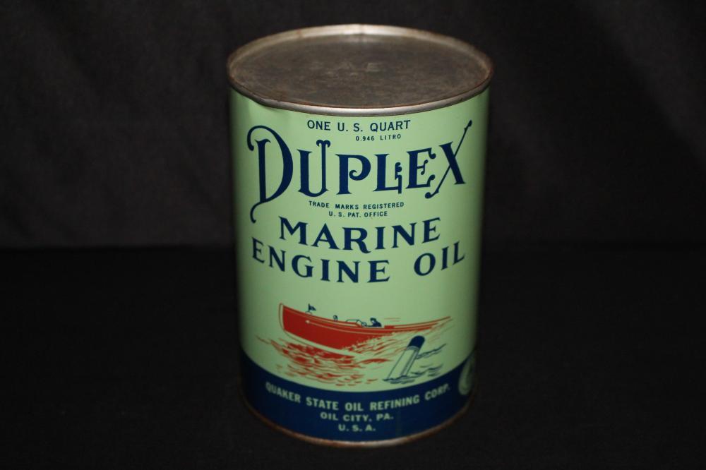 QUART OIL CAN DUPLEX MARINE ENGINE QUAKER STATE