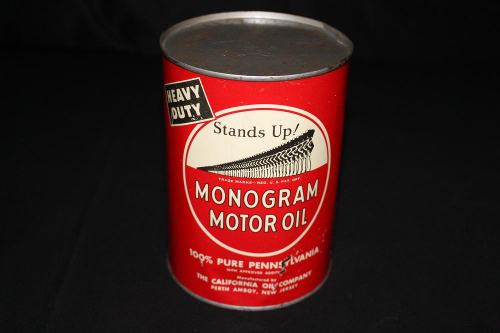 QUART OIL CAN MONOGRAM CALIFORNIA OIL CO