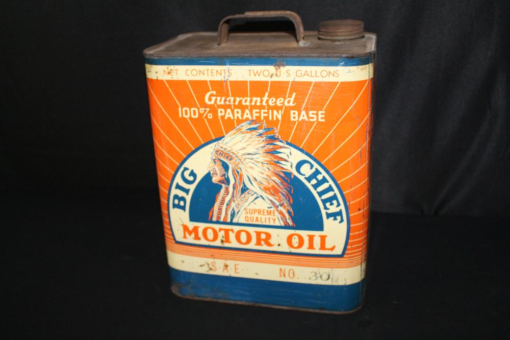 2 GAL OIL CAN BIG CHIEF NATIVE AMERICAN