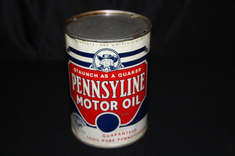 QUART OIL CAN PENNSYLINE MOTOR OIL QUAKER LOGO