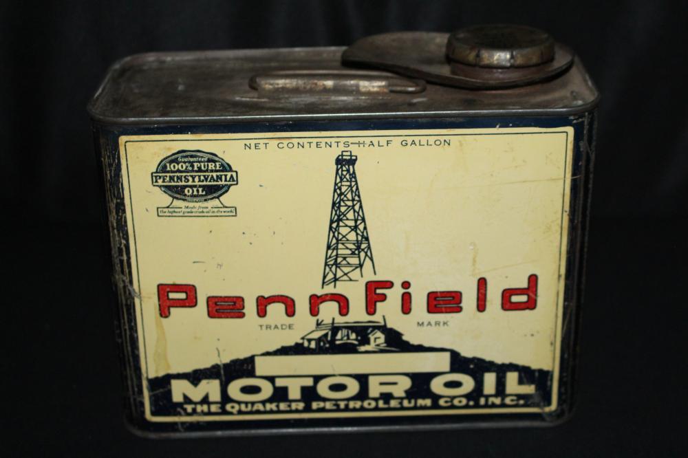 1/2 GAL OIL CAN PENNFIELD QUAKER PETROLEUM CO