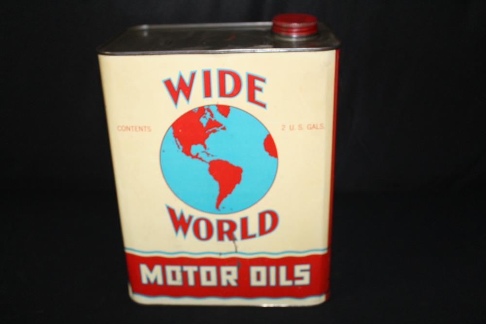 2 GAL OIL CAN WIDE WORLD EARTH GLOBE LOGO