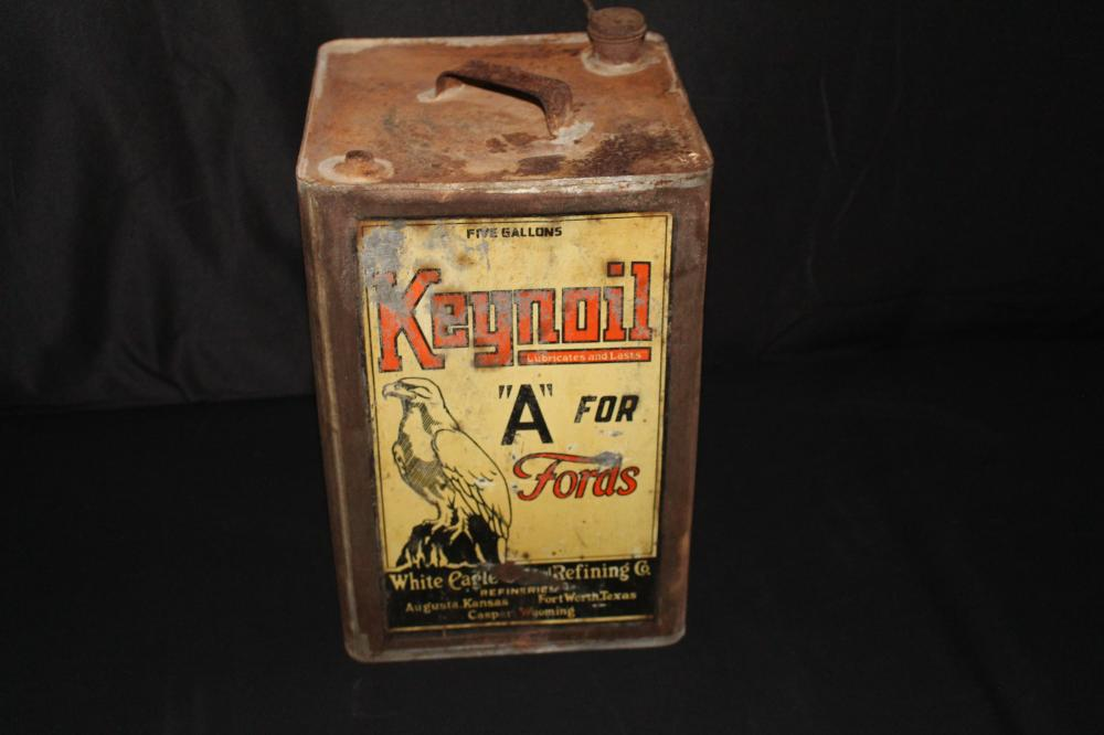 5 GAL OIL CAN WHITE EAGLE FOR FORDS KAN TEX WYO