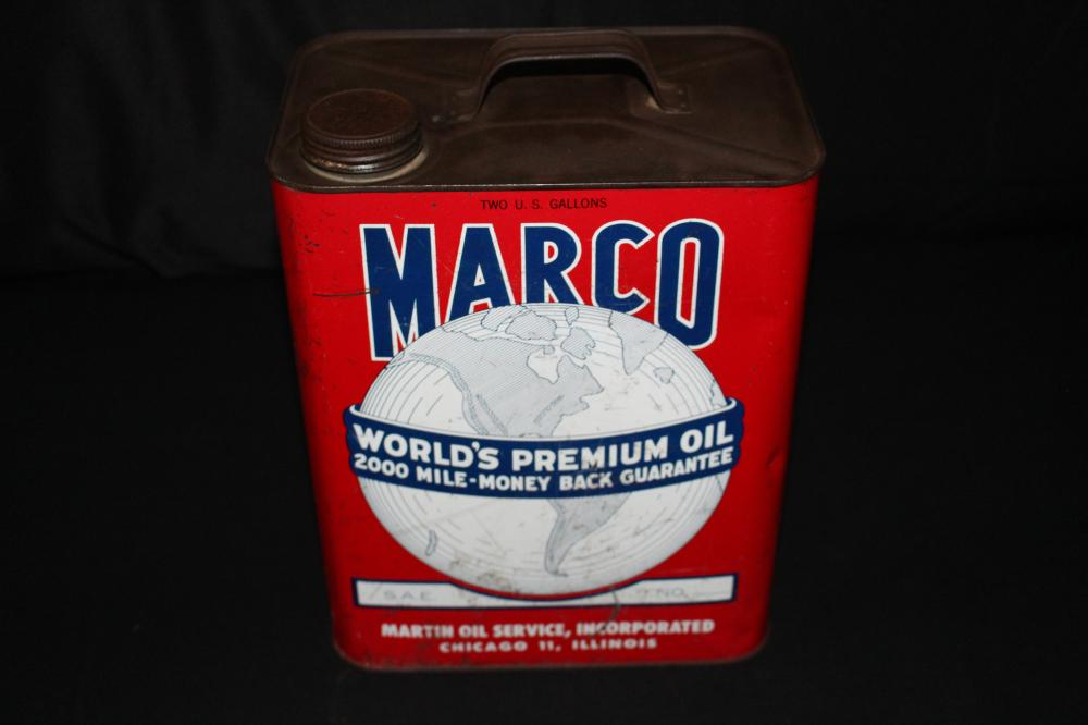 2 GAL OIL CAN MARCO MARTIN OIL SERVICE CHICAGO IL