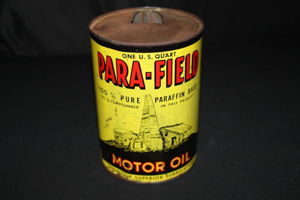 QUART OIL CAN PARAFIELD OIL DERRICK LOGO