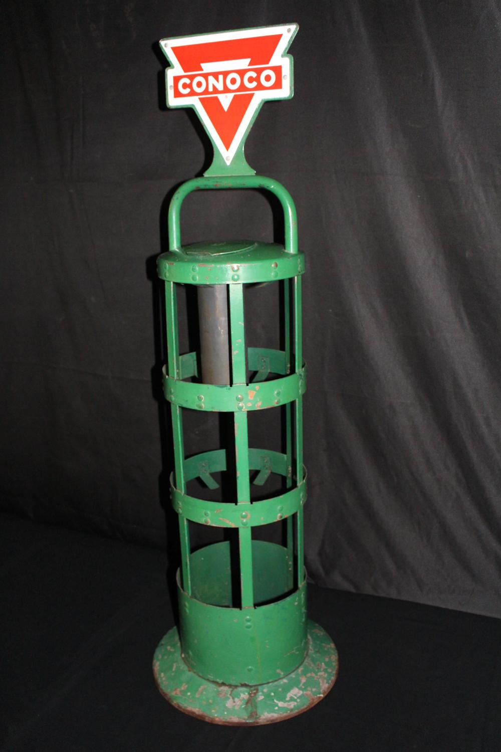 CONOCO OIL CAN RACK PORCELAIN SIGN TOP