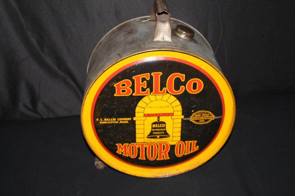 5 GAL ROCKER OIL CAN BELCO FC BELLS WORCESTER MA