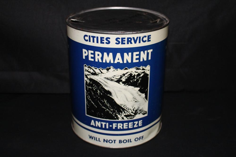 1 GAL ANTI FREEZE OIL CAN CITIES SERVICE GLACIER
