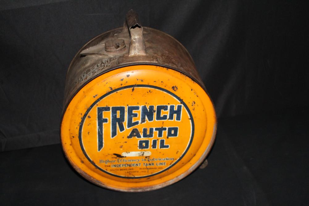 5 GAL ROCKER OIL CAN FRENCH AUTO OIL INDIANA