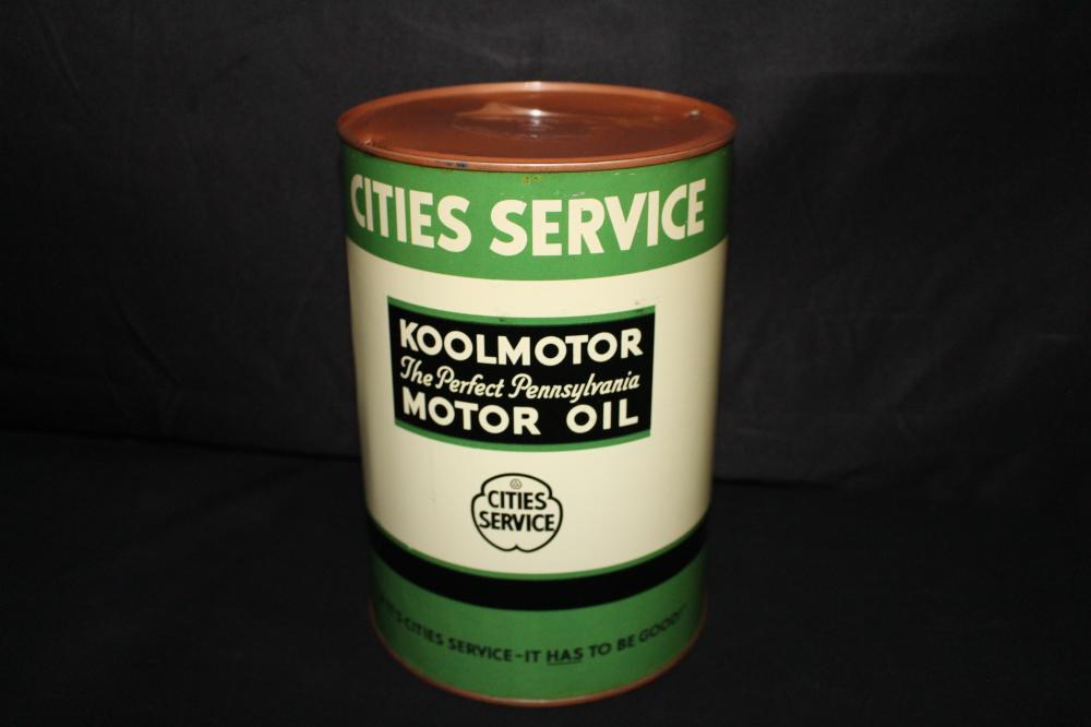 5 QUART OIL CAN CITIES SERVICE KOOLMOTOR MOTOR OIL