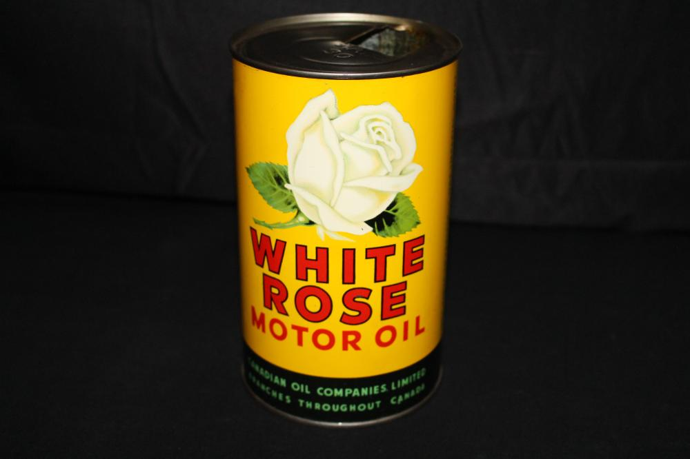 IMPERIAL QUART OIL CAN WHITE ROSE CANADIAN OIL CO