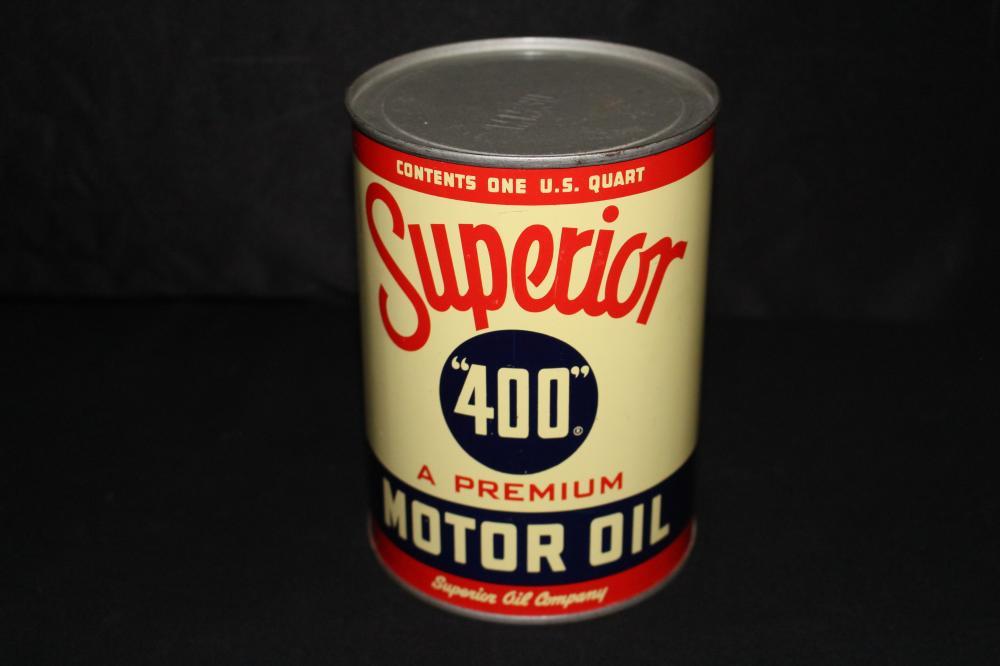 FULL QUART OIL CAN SUPERIOR 400 MOTOR OIL