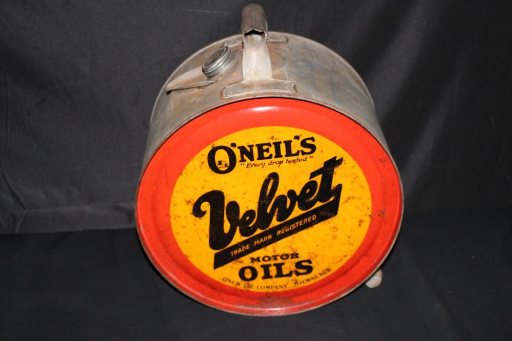 5 GAL ROCKER OIL CAN VELVET ONEIL MILWAUKEE WI