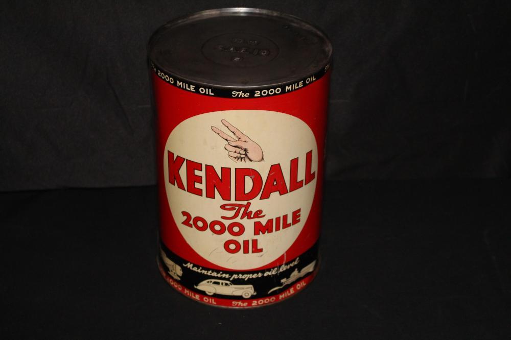 5 QUART OIL CAN KENDALL 2000 MILE MOTOR OIL
