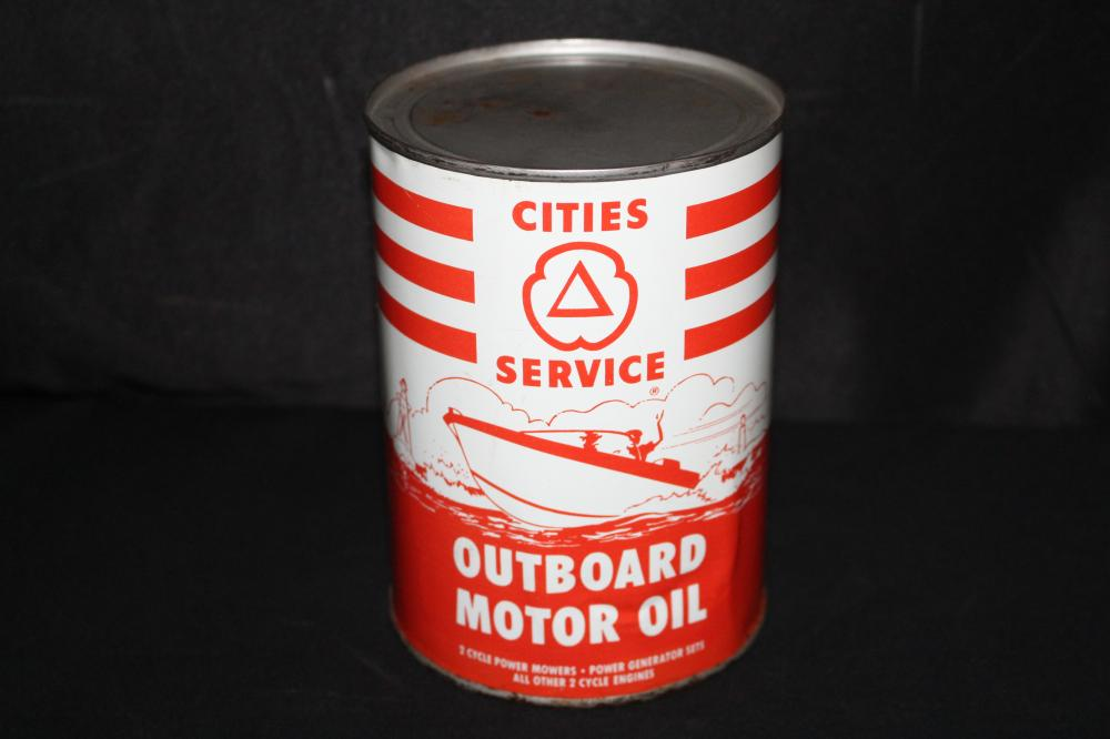 QUART OIL CAN CITIES SERVICE OUTBOARD MOTOR OIL