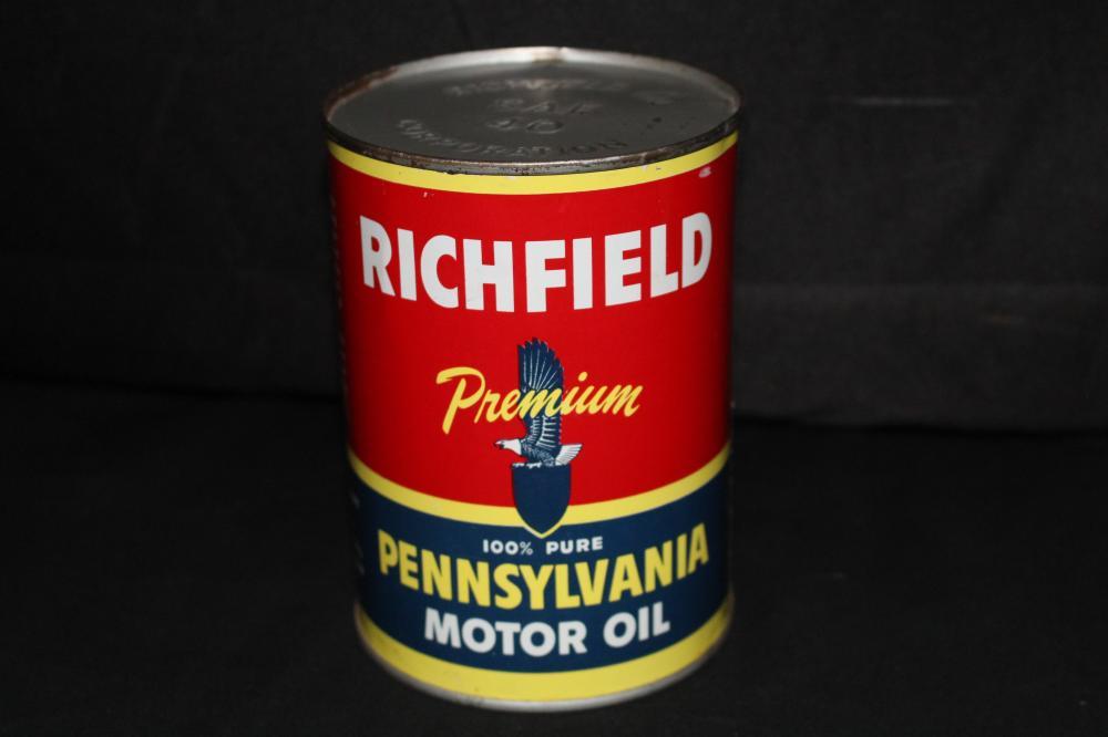 FULL QUART OIL CAN RICHFIELD PREMIUM MOTOR OIL