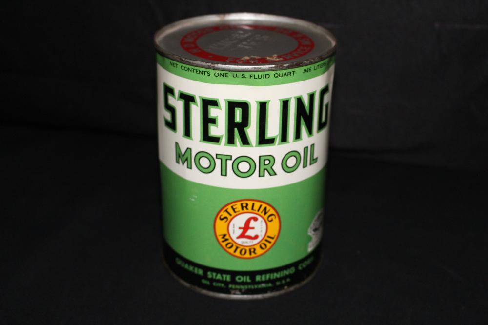 QUART OIL CAN STERLING MOTOR OIL QUAKER STATE