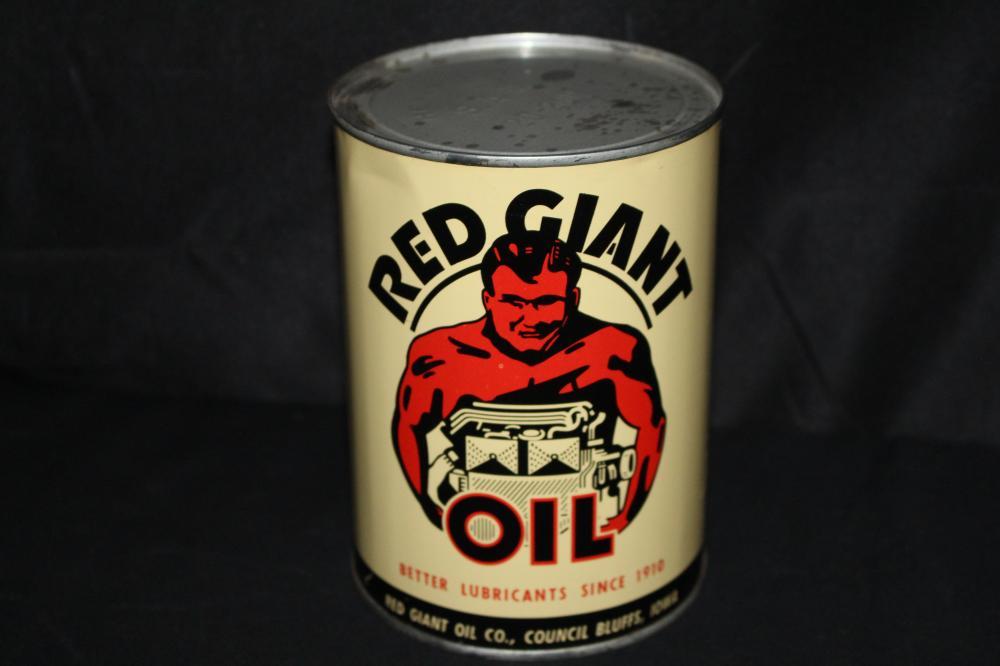QUART OIL CAN RED GIANT COUNCIL BLUFFS IOWA