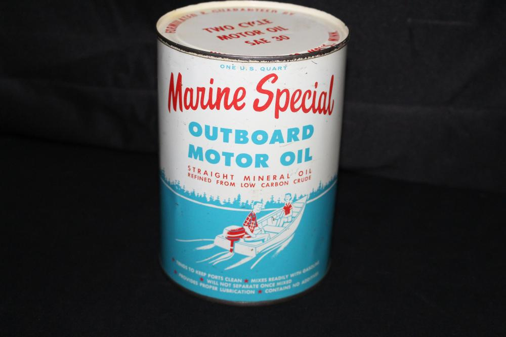 FULL QUART OIL CAN MARINE SPECIAL OUTBOARD MOTOR