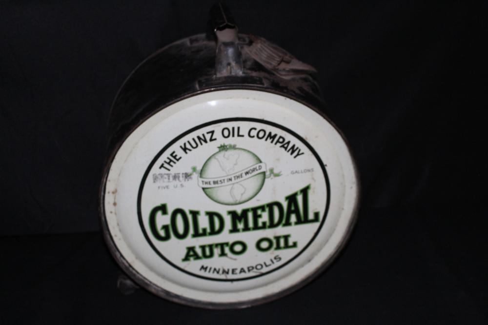 5 GAL ROCKER OIL CAN KUNZ GOLD MEDAL MINNEAPOLIS