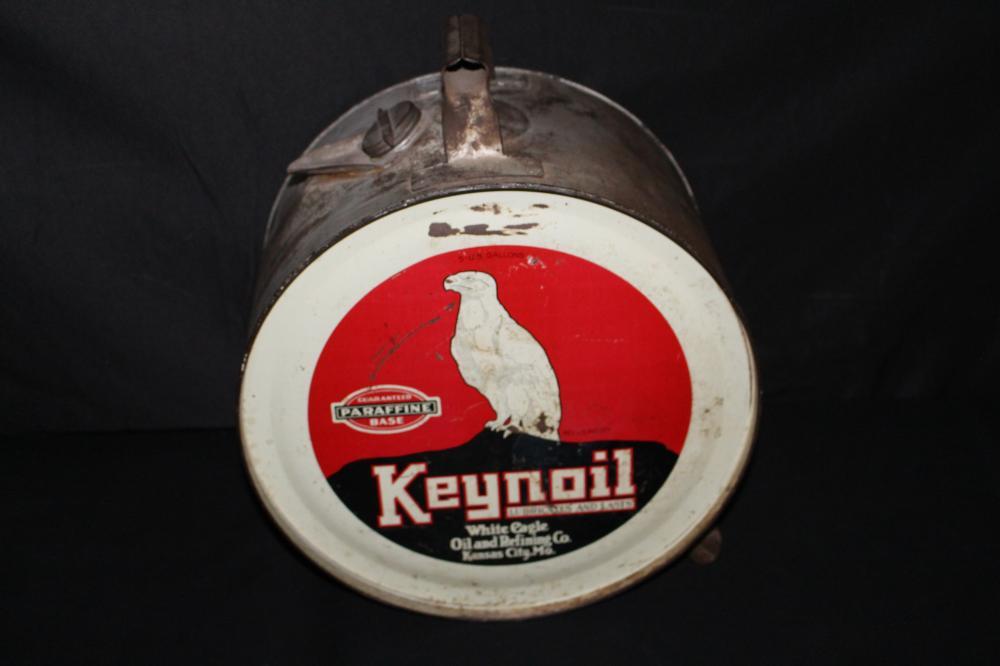 5 GAL ROCKER OIL CAN KEYNOIL WHITE EAGLE KC MO