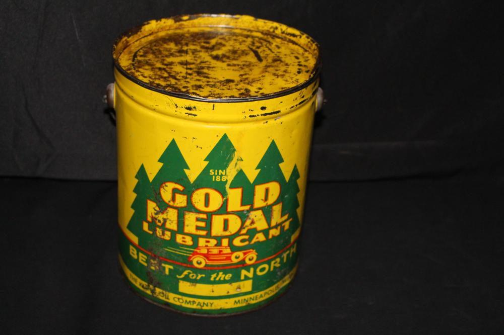 10# GREASE OIL CAN KUNZ GOLD MEDAL MINNEAPOLIS