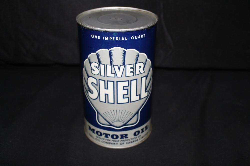 IMPERIAL QUART OIL CAN SILVER SHELL CANADA