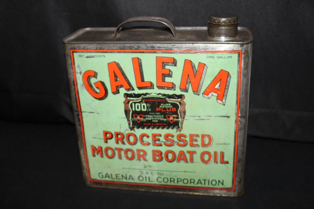 1 GAL OIL CAN GALENA MOTOR BOAT OIL MERMAIDS