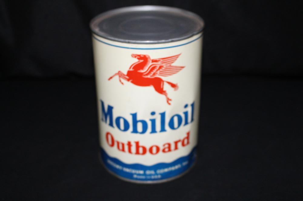 FULL QUART OIL CAN MOBIL MOBILOIL OUTBOARD