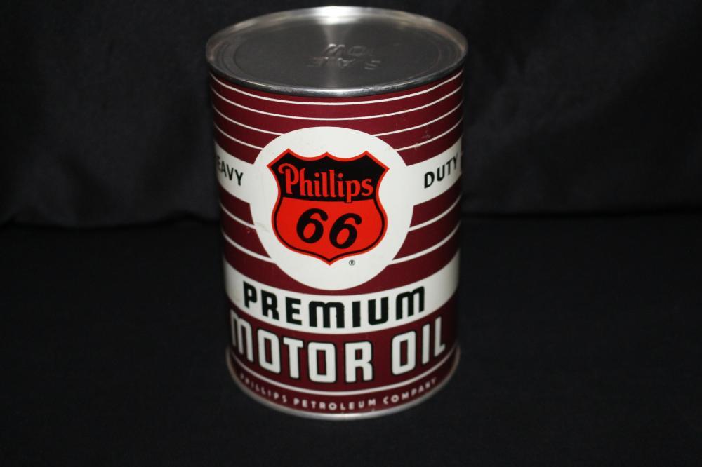 FULL QUART OIL CAN PHILLIPS 66 PREMIUM MOTOR OIL